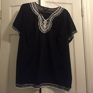 Style &Co.Black embroidered blouse 24W